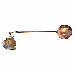 "Pipe-Mount Angle Float Valve with Threaded Outlet, 3/8"" NPT Rod Thread, Bronze"