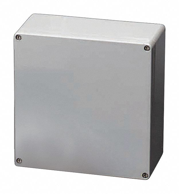 6 inH x 6 inW x 4 inD Non-Metallic Enclosure, Light Gray, Knockouts: No, Screws Closure Method