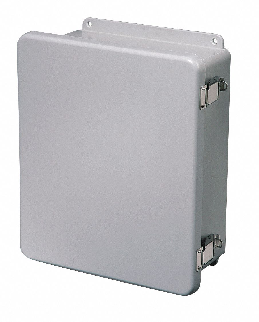 12 inH x 10 inW x 5 inD Non-Metallic Enclosure, Light Gray, Knockouts: No, Padlockable Latch Closure