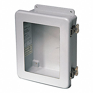 "6""H x 6""W x 4""D Non-Metallic Enclosure, Light Gray, Knockouts: No, Twist Latch Closure Method"