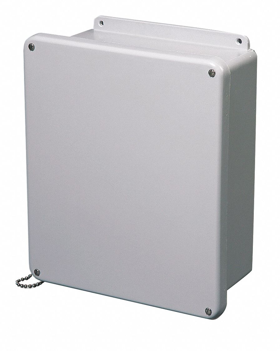 12 inH x 12 inW x 6 inD Non-Metallic Enclosure, Light Gray, Knockouts: No, Screws Closure Method