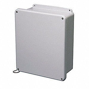"20""H x 16""W x 8""D Non-Metallic Enclosure, Light Gray, Knockouts: No, Screws Closure Method"