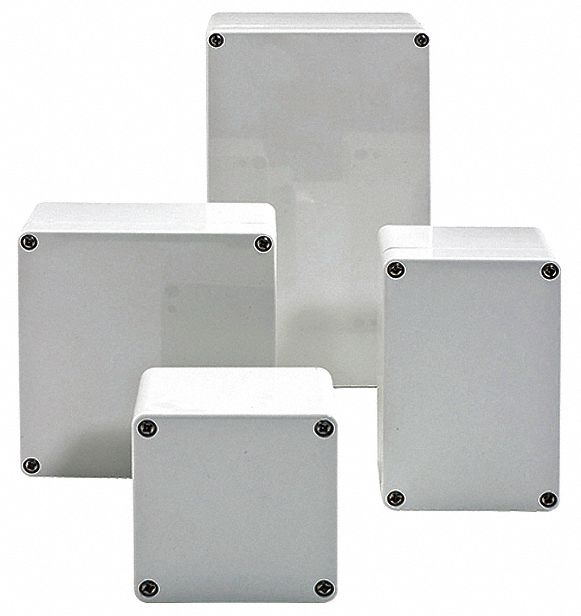 3 inH x 3 inW x 3 inD Non-Metallic Enclosure, Light Gray, Knockouts: No, Screws Closure Method