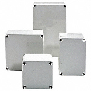 "6""H x 5""W x 5""D Non-Metallic Enclosure, Light Gray, Knockouts: No, Screws Closure Method"