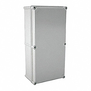 "20""H x 10""W x 6""D Non-Metallic Enclosure, Light Gray, Knockouts: No, Screws Closure Method"