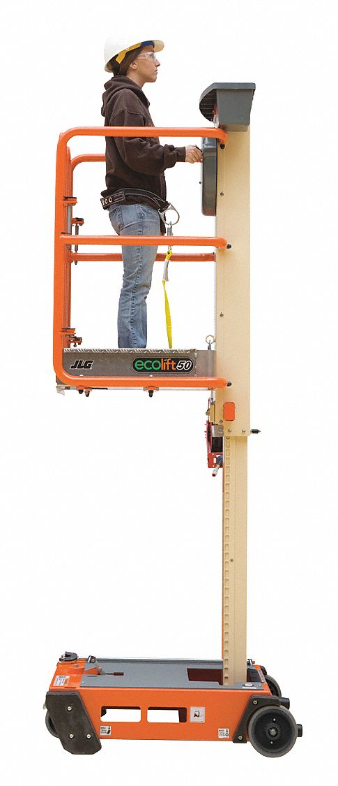Personnel Lift, Push-Around Drive, Stored Power Lift Power Source, 11 ft Max. Work Height
