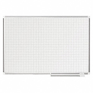 "Gloss-Finish Steel Dry Erase Grid Board, Wall Mounted, 36""H x 48""W, White"