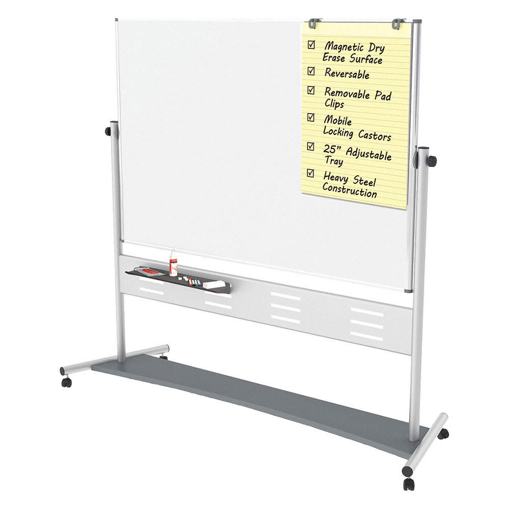 Matte-Finish Steel Dry Erase Board, Mobile/Casters, 80