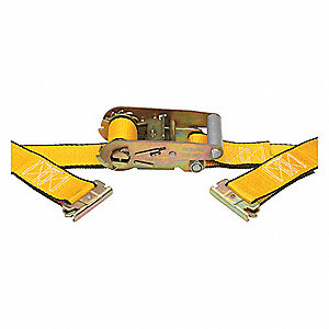 "Tie Down Strap, 16 ft.L x 2""W, 1500 lb. Load Limit, Adjustment: Ratchet"