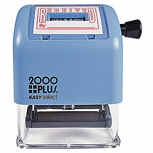 Plastic Self-Inking Received and Date Stamp with Red Ink, Character Height: 1""