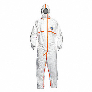 Hooded Coveralls with Elastic with Finger Loops Cuff, Tyvek® 400 Material, White, M