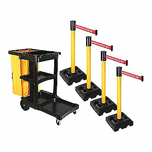 Barrier Systems, Post Yellow, 15 ft. Belt