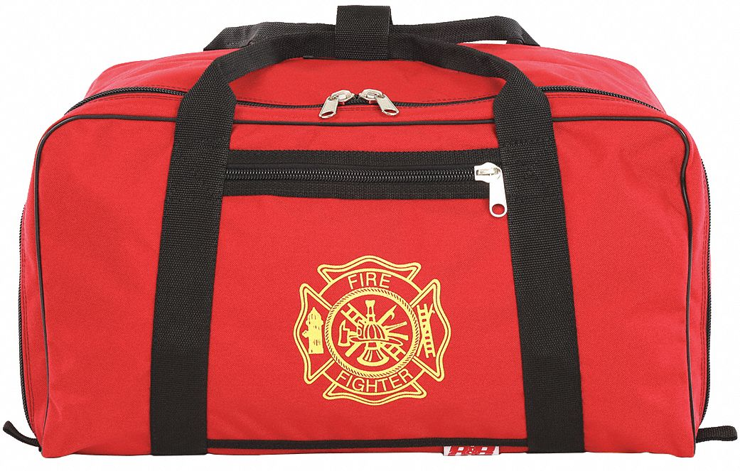 Red Gear Bag,  1000D Cordura(R), Nylon,  Includes Handle, Firefighter Shield