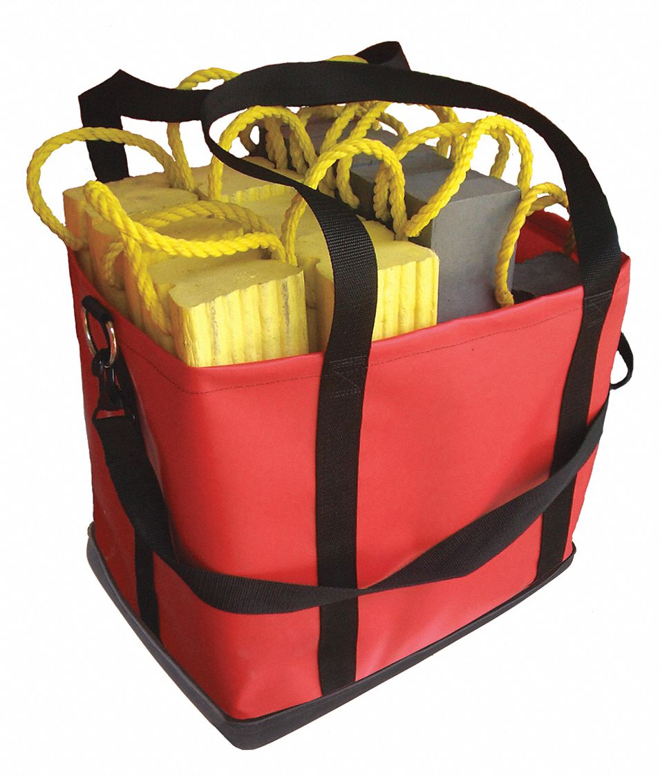 Red Cribbing Bag,  Vinyl,  Includes Handle and Shoulder Strap,  3,100 cu in Storage Capacity