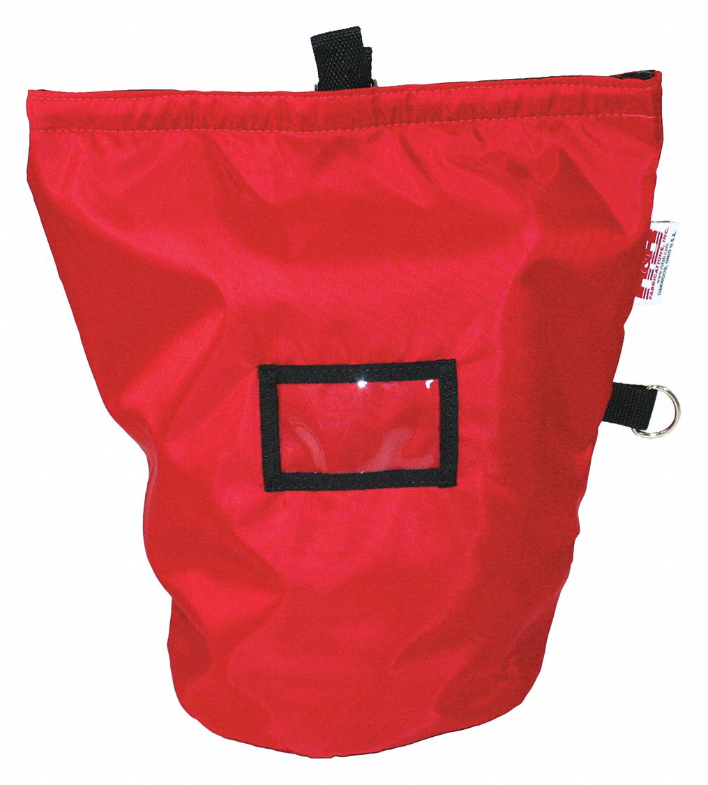 Red Mask Bag,  Nylon,  Includes Hook-and-Loop Closure, D Ring,  1,000 cu in Storage Capacity