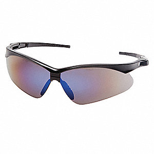 Agitator Scratch-Resistant Safety Glasses, Blue Mirror Lens Color