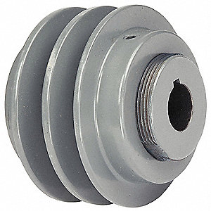 "1-1/8"" Fixed Bore Variable Pitch V-Belt Pulley, For V-Belt Section: 3L, 4L, 5L, A, AX, B, BX"