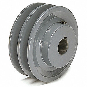 "1"" Fixed Bore Standard V-Belt Pulley, For V-Belt Section: 3L, 4L, A, AX"