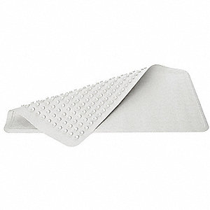 "28"" x 16"" Rubber Shower Mat with Suction Backing, White; PK12"