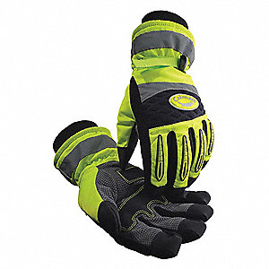 Cold Protection Gloves, Heatrac® Lining, Knit Wrist Cuff, Hi-Visibility Lime/Black, 2XL, PR 1
