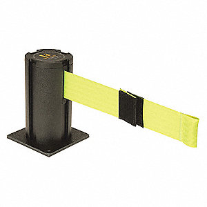 Surface Mount Retractable Belt Barrier, Yellow, Lane Closed