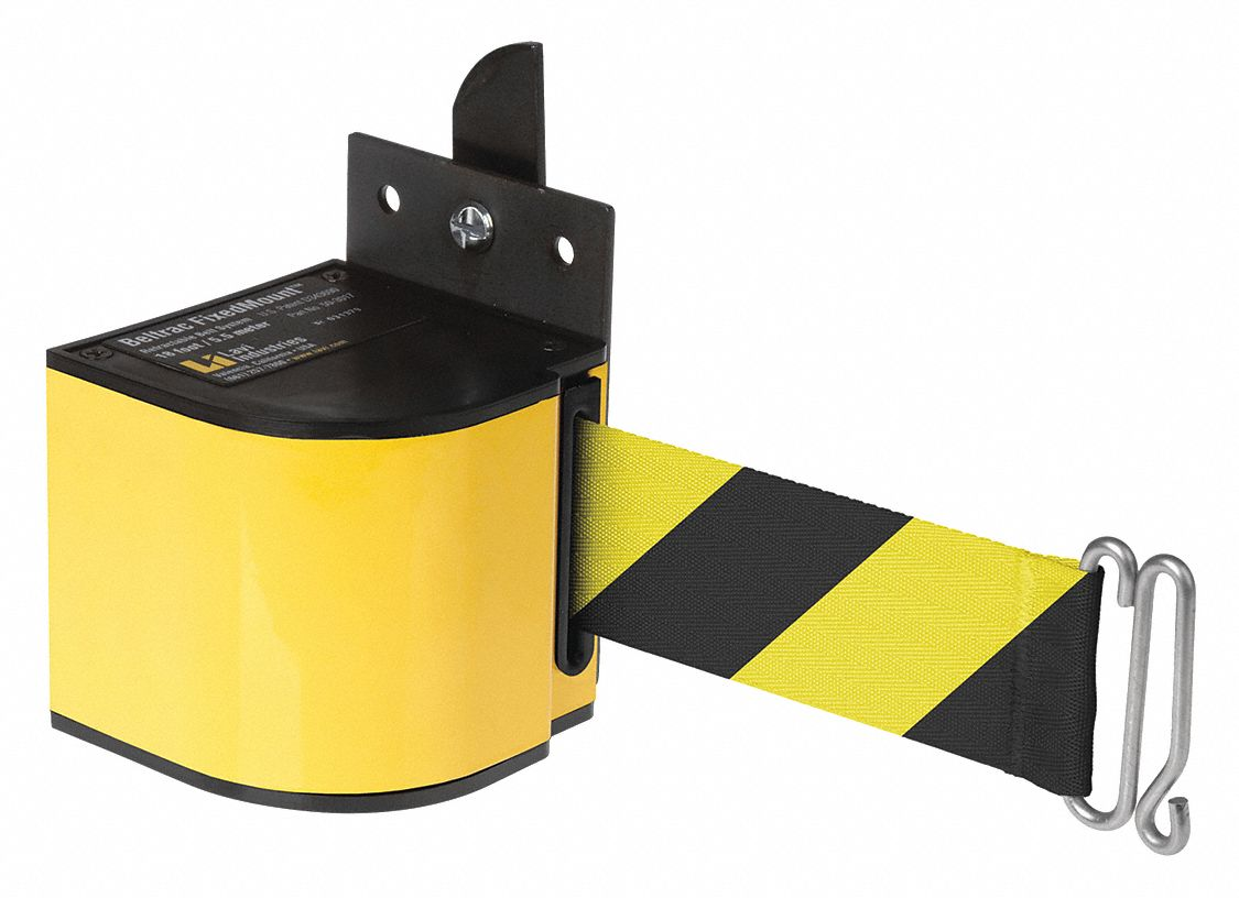 Warehouse Fixed Mount Retractable Belt Barrier, Yellow/Black, None