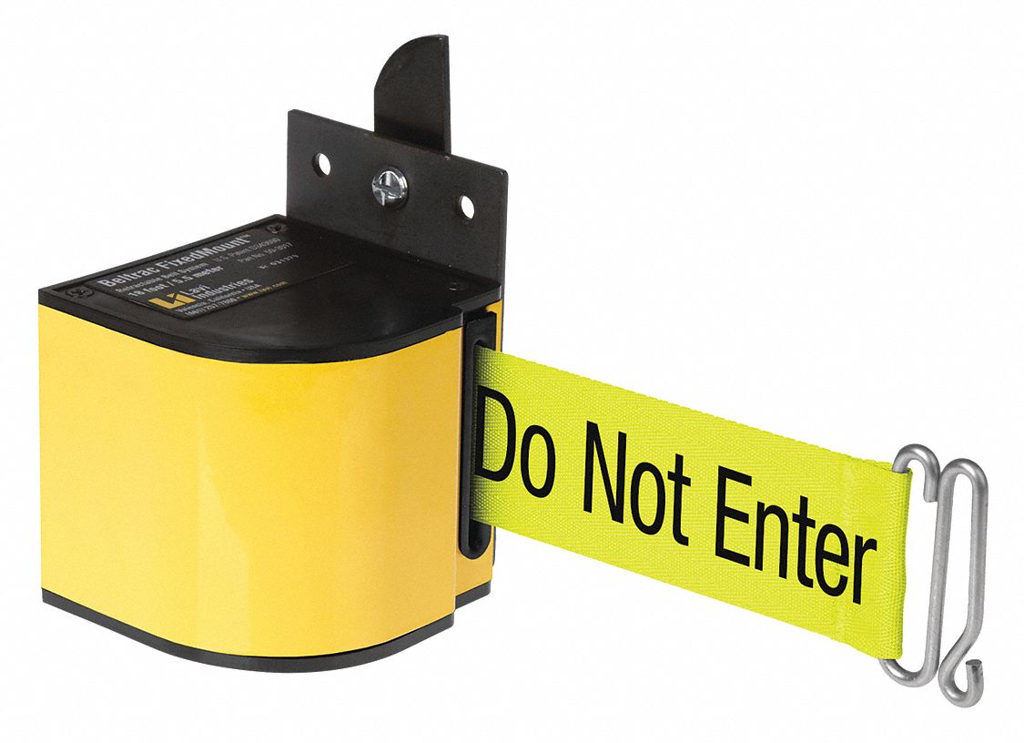 Warehouse Fixed Mount Retractable Belt Barrier, Yellow, Caution - Do Not Enter