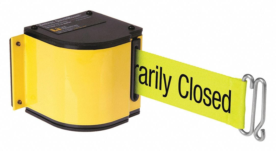 Warehouse Quick Mount Retractable Belt Barrier, Yellow, Please Do Not Enter - Temporarily Closed