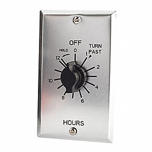Spring-Wound Timer, Silver, Timing Range:  0 to 12 hr., 20 Max. Amps @ 125VAC