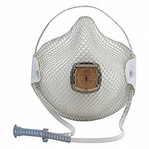 N95 Disposable Respirator, Molded, White, Mask Size: M/L, 2PK
