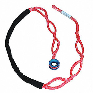 8 ft. Lightweight Polyester/Aluminum Rope Sling with 1100 lb. Holding Capacity, Red/Blue