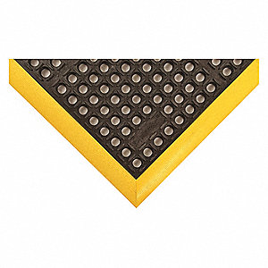 "Drainage Mat, 3 ft. 4"" L, 28"" W, 7/8"" Thick, Rectangle, Black with Yellow Border"