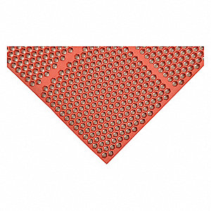 "Drainage Mat, 3 ft. L, 24"" W, 1/2"" Thick, Rectangle, Red"