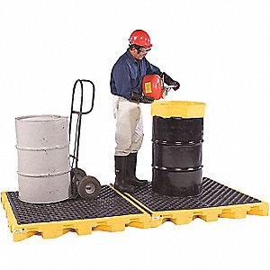 Spill Containment Pallets, Uncovered, 88 gal. Spill Capacity, 12,000 lb.