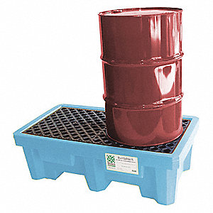 Spill Containment Pallets, Uncovered, 66 gal. Spill Capacity, 3000 lb.