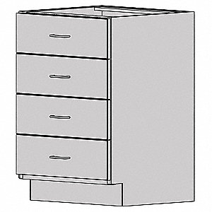 "Base Cabinet,HDPE,Light Gray,18""W"