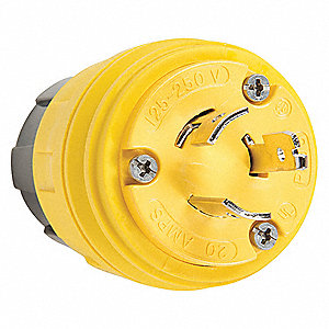 20A Industrial Grade Non-Shrouded Watertight Locking Plug, Yellow; NEMA Configuration: L5-15P