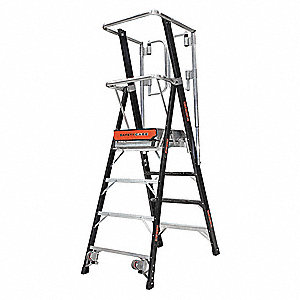 "Fiberglass Platform Stepladder, 7 ft. 6"" Ladder Height, 4 ft. Platform Height, 375 lb."