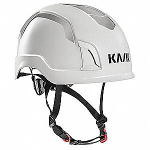 White Work/Rescue Helmet, Shell Material: ABS, 6pt. Ratchet Suspension, Fits Hat Size: One Size Fits