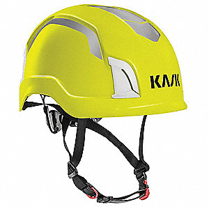 Yellow Fluo Work/Rescue Helmet, Shell Material: ABS, 6pt. Ratchet Suspension, Fits Hat Size: One Siz