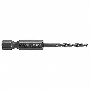 "3/32"" Twist Drill Bit, High Speed Steel, Black Oxide, 1"" Depth, Hex Shank Type"