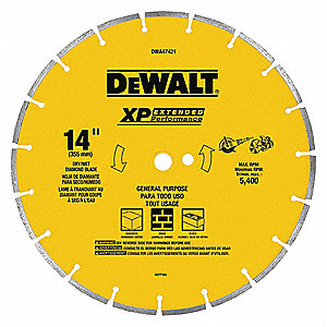 "14"" Dry Diamond Saw Blade, Segmented Rim Type, Application: Specialty"