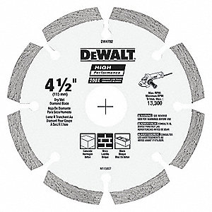 "4-1/2"" Dry Diamond Saw Blade, Segmented Rim Type, Application: Specialty"