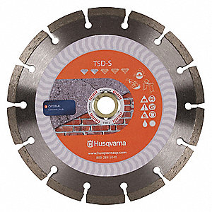 "5"" Wet/Dry Diamond Saw Blade, Segmented Rim Type, Application: Masonry"