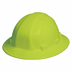 Full Brim Hard Hat, 6 pt. Pinlock Suspension, Hi-Visibility Lime, Hat Size: 6-1/2 to 8