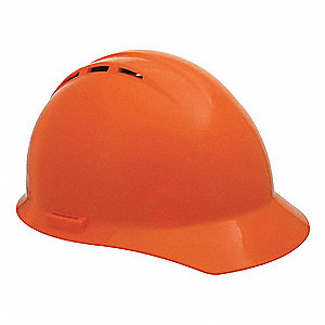 Front Brim Hard Hat, 4 pt. Ratchet Suspension, Orange, Hat Size: 6-1/2 to 8