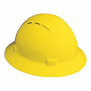 Full Brim Hard Hat, 4 pt. Ratchet Suspension, Yellow, Hat Size: 6-1/2 to 8