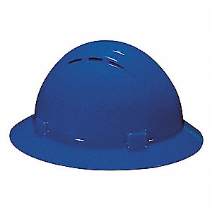 Full Brim Hard Hat, 4 pt. Ratchet Suspension, Blue, Hat Size: 6-1/2 to 8