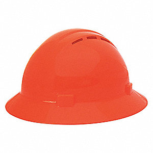 Full Brim Hard Hat, 4 pt. Pinlock Suspension, Orange, Hat Size: 6-1/2 to 8