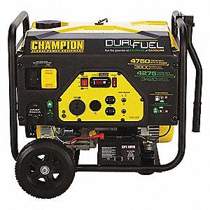 Electric/Recoil Gasoline/Liquid Propane Portable Generator,3800W,Dual Fuel,  4750/4275 Surge Watts, 1